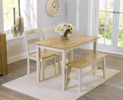 Fantastic Cream Dining Table And Chairs With Bench Foscoin