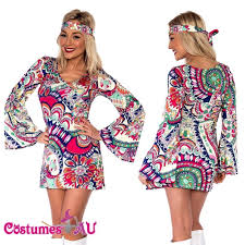 Ladies 60s 70s Retro Hippie Go Girl Disco Costume Fancy Dress Hen Xmas Party