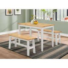 New York 3 Piece Natural And White Dining Set