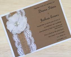 Handmade Rustic Wedding Invitation Flower Burlap And Lace Country Bridal Shower