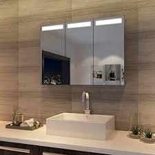 sonni spiegelschrank bad mit beleuchtung hängeschrank mit 3 spiegeltüren badezimmerspiegel 90 x 65 cm infrarot sensorschalter badezimmerspiegel