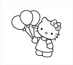 Hello Kitty With Balloons Coloring Page PDF Download