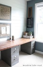 Modern Farmhouse Office Filing Cabinets With Wood Top Easy DIY Desk Shiplap Walls Rustic DecorOffice