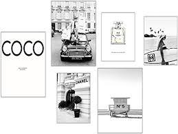 elafi premium poster 6er set bilder schwarz weiß deko wohnzimmer vintage bilder mit sprüchen schöne bilder wohnzimmer groß coco