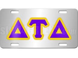 Delta Tau Delta License Plate with Purple and Gold Letters on