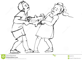 Sketch Of Boy And Girl Children Are Fighting Over A Toy Stock