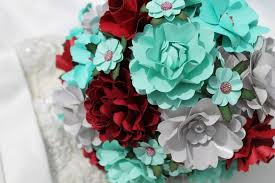 Tiffany Blue Wine Red And Silver Handmade Paper Flower Wedding Bouquet