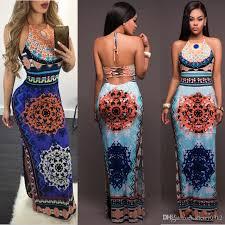 2017 Summer Bohemian Style Fashion Women Dresses Sexy Halter Waist