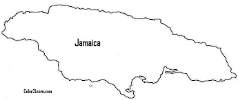 Jamaican Map Coloring Page Flag