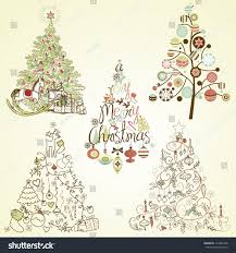 Type Of Christmas Trees by Christmas Tree Collection Vintage Retro Cute Stock Vector