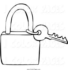 Vector Coloring Page Of A Lineart Key And Padlock