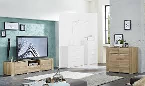 wohnwand wohnzimmer set dinaro 2 tlg kleine kommode tv lowboard tv tisch riviera eiche hell