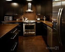 Kitchen Contemporary Dark Cabinet With Stainless Appliances