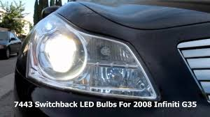 2008 infiniti g35 with 7443 switchback led bulbs for front turn