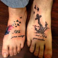 Wings And Anchor Sister Tattoo