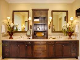 Small Double Sink Vanity by Long Brown Wooden Vanity With Double Sink On The Cream Top