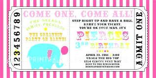 Carnival Ticket Template Circus Printable Invite Invitations Free