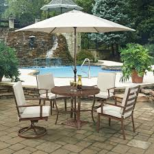 7 Piece Patio Dining Set With Umbrella by Home Styles Key West Chocolate Brown 7 Piece Extruded Aluminum