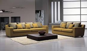 Modern Furniture Stores Yellow Sofa And Cushion And White Carpet And Table And Floor