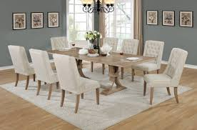 Best Quality BM D37 9PC 9 Pc Sania II Collection Antique Natural Finish Wood Rustic Style Dining Table Set With Tufted Chairs