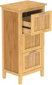 eisl badezimmer unterschrank badschrank schmal mit 3 schubladen nachhaltige badmöbel bambus bmba02 ls3 braun b x h x t ca 31 x 82 x 30 cm