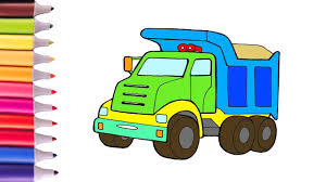 Green Toy Trucks Coloring Page Drawing Truck Pages And Painting For ...