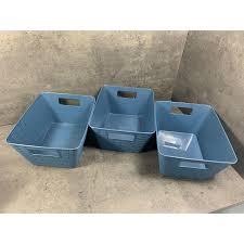 3 er set aufbewahrungsbox korb kiste regal bad boxen 26x20x13 blau