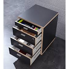 caisson bureau caisson de bureau à roulettes en bois avec 4 tiroirs h59cm aveiro