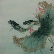 Koi Fish And Lotus Flower Sophisticated Chinese Painting