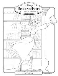 Beauty And The Beast Belle In Library Coloring Page Printables For Kids Free