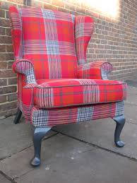 re upholstered tartan wing chair upholstery furniture portfolio