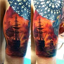 Sailing Ship On Fire Mens Half Sleeve Tattoos