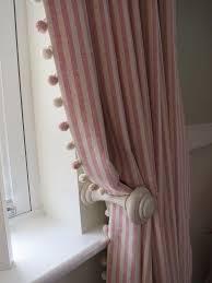 Plum And Bow Blackout Pom Pom Curtains by Striped Curtains With Pom Pom Trim A Pair Of Full Length Pencil