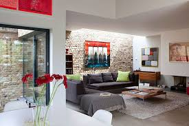Living RoomVintage Exposed Brick Wall In Masculine Room Design Plus Grey Fabric Sofa