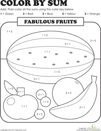 Activities First Grade Addition Color By Number Worksheets