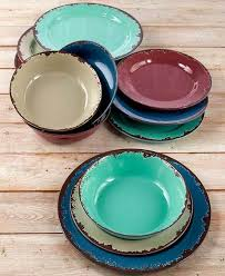 Rustic Melamine Dinner Salad Plate Bowl Antiqued Country Dinnerware Serving 12pc Set