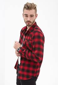 forever 21 blurred plaid flannel shirt in red for men lyst