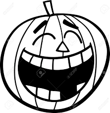 Black and White Cartoon Illustration of Laughing Halloween Pumpkin Clip Art for Coloring Book Stock Vector