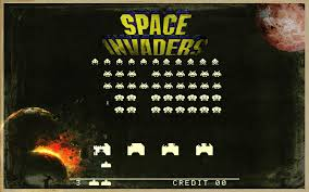 Outer Space Stars Vintage Old Planets School Invaders Retro Games Wallpaper