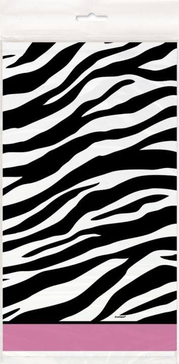 "Plastic Zebra Print Table Cover, 84"" x 54"""