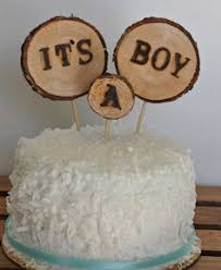 Rustic Baby Shower Cake Topper 3pcs Decorations