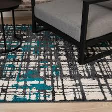 teppich flachflor mit retro design in petrol streifen muster