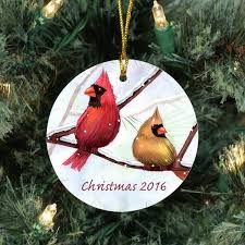Personalized Winter Cardinals Christmas Tree Ornament Click To Enlarge