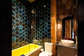 Tiling A Bathtub Alcove by Trendy Twist To A Timeless Color Scheme Bathrooms In Blue And Yellow