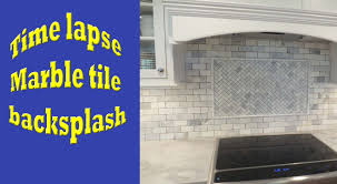 time lapse marble tile backsplash install