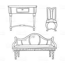 chaise de bureau antique ensemble de meubles bureau antique tables chaise isolé sur un blanc