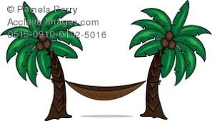 Art Illustration of a Hammock Between Two Palm Trees