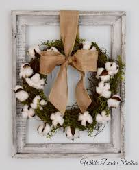 Cotton Boll Wreath Rustic Wall Decor By WhiteDoorStudios