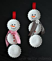 Frosty Snowman White Christmas Tree by Bottle Cap Snowman Ornaments One Artsy Mama
