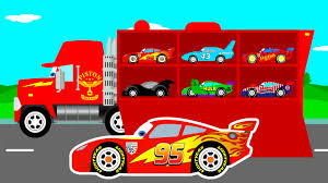 100 Trucks Cartoon MCQUEEN CARS Transportation In Mack Truck For Kids Colors